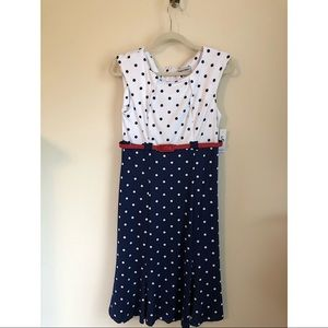 White and blue polka dot reds with red belt